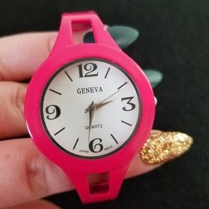 Geneva Pink Cuffed Watch